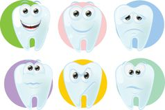 Cartoon cute tooth with different emotions,vector Stock Image