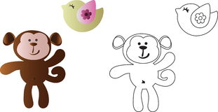 Cartoon cute toy baby monkey and bird. Drawing of a cartoon cute toy baby monkey and bird - in color and line art Royalty Free Stock Images