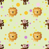 Cartoon cute toy baby monkey, lion and Circles. Seamless pattern with cartoon cute toy baby monkey, lion and Circles on a light green background Royalty Free Stock Images