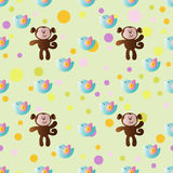 Cartoon cute toy baby monkey. Seamless pattern with cartoon cute toy baby monkey, bird and Circles on a light green background Royalty Free Stock Photography