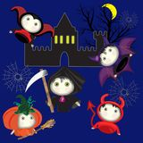 Cartoon cute are typical for the Halloween holiday. Moon, castle on a dark background Royalty Free Illustration