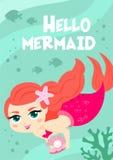 Cartoon cute vector card. Summer poster hello mermaid. Cartoon cute vector card. Summer poster hello mermaid Royalty Free Stock Photos