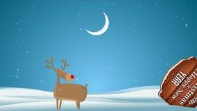 Cartoon Cute Vector Deer walking on Christmas background