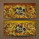 Cartoon cute vector doodles Africa banners Royalty Free Stock Photos