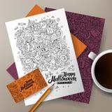 Cartoon cute vector doodles Halloween corporate identity set. Royalty Free Stock Photo