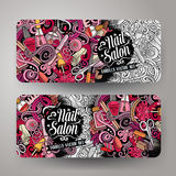 Cartoon cute vector doodles Nail salon banners Stock Photography