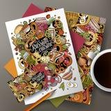 Cartoon cute vector doodles Russian food corporate identity set Stock Image