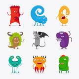 Cartoon cute vector monsters. Different colour funny monsters icons on white background. Vector illustration Stock Photography
