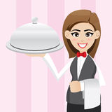 Cartoon cute waitress with food tray stock illustration