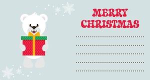 Cartoon cute white bear with gift christmas card Stock Photo