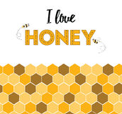 Cartoon cute yellow honeycomb border and word honey Stock Photo