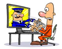 Cartoon cyber security. Cartoon caricature of policeman arresting man through computer screen Royalty Free Stock Photos