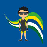 Cartoon cycling player brazilian label Stock Images