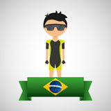 Cartoon cycling player brazilian label Royalty Free Stock Photo