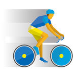 Cartoon cyclist on a bike, with shadows behind Royalty Free Stock Photography