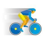 Cartoon cyclist in helmet on a bike, with shadows behind Stock Photo