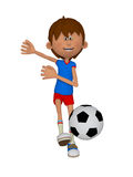 Cartoon 3d boy with a soccer ball. Isolated on the white background Royalty Free Stock Image