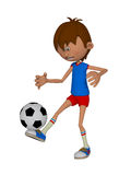 Cartoon 3d boy with a soccer ball Royalty Free Stock Images