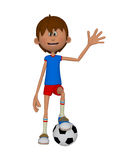 Cartoon 3d boy with a soccer ball. Isolated on the white background Stock Photography