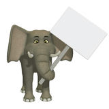 Cartoon 3d elephant with a blank sign. Cute elephant character with a frame Royalty Free Stock Photo