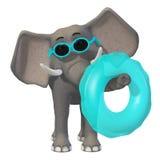 Cartoon 3d elephant. Cute elephant with sunglasses and babyswimmer Stock Photos