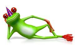 Cartoon 3D frog wearing birhday cap Royalty Free Stock Image