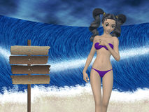Girl and big wave Royalty Free Stock Photo