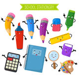 Cartoon 3d vector characters of school writing stationery. Calculator and notebook, marker cartoon character with face illustration vector illustration