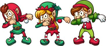 Cartoon dabbing Christmas elves. Vector clip art illustration with simple gradients. Each on a separate layer Stock Photos