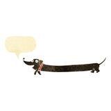 cartoon dachshund with speech bubble Royalty Free Stock Photo