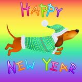 Cartoon dachshund in winter clothes on the rainbow background. Funny cartoon dachshund in winter clothes on the rainbow background. Vector Stock Photography