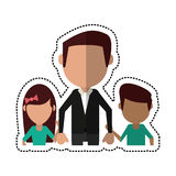 Cartoon dad with daughter son holding hands. Vector illustration eps 10 Royalty Free Stock Photos