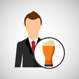 Cartoon dad father day beer glass. Vector illustration eps 10 Royalty Free Stock Image