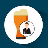 Cartoon dad father day beer glass. Vector illustration eps 10 Stock Photo