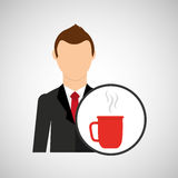 Cartoon dad father day cup coffee. Vector illustration eps 10 Stock Image