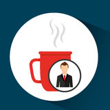 Cartoon dad father day cup coffee. Vector illustration eps 10 Royalty Free Stock Image