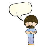 Cartoon dad with folded arms with speech bubble Royalty Free Stock Photos