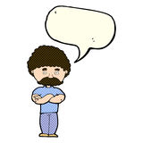 Cartoon dad with folded arms with speech bubble Royalty Free Stock Photo