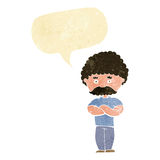 Cartoon dad with folded arms with speech bubble Stock Image