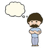 Cartoon dad with folded arms with thought bubble Royalty Free Stock Image