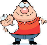Cartoon Dad Holding Baby. A cartoon illustration of a dad holding baby Royalty Free Stock Photography