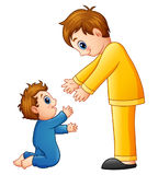 Cartoon dad holding his son hands Stock Images