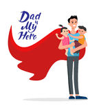 Cartoon dad my hero. Cartoon characters of family. Dad and his children celebrating father`s Day. Inscription Dad is my hero Royalty Free Stock Photos