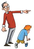 Cartoon of Dad scolding his son. And sending him away Stock Photo