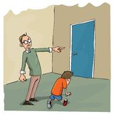 Cartoon of Dad scolding his son. And sending him out of the room Stock Image