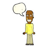 Cartoon dad shrugging shoulders with speech bubble Royalty Free Stock Photo