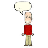 Cartoon dad shrugging shoulders with speech bubble Royalty Free Stock Image
