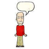 Cartoon dad shrugging shoulders with speech bubble Stock Photography