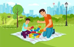 Cartoon dad with son in park collect constructor royalty free illustration