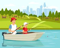 Cartoon dad and son sitting in boat and fishing stock illustration